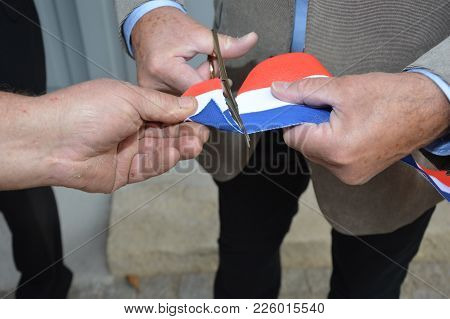 French Ribbon ( Inauguration France ) Cut With Scissors