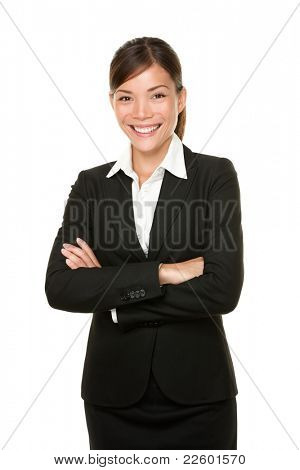 Smiling happy businesswoman portrait of multiracial Asian / Caucasian business woman isolated on white background. poster
