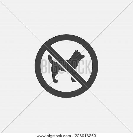 No Dog Icon Vector Illustration. No Animals Icon Vector.