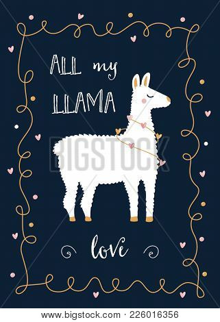 Valentine Day Or Friends Day Card With Llama And Festive Lights Hearts Garland.