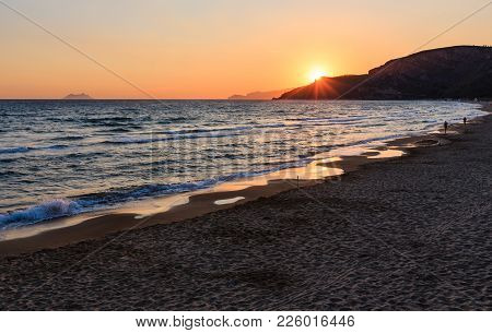 Beautiful Landscape With Tropical Sea Sunset On The Beach.  (gaeta, Latina, Italy). Two Unrecognizab