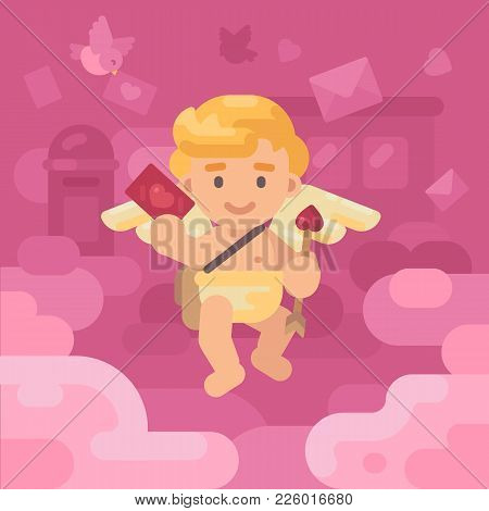 Cute Cupid Postman Delivering A Lov Letter With Envelopes, Hearts And Presents Falling All Around. V