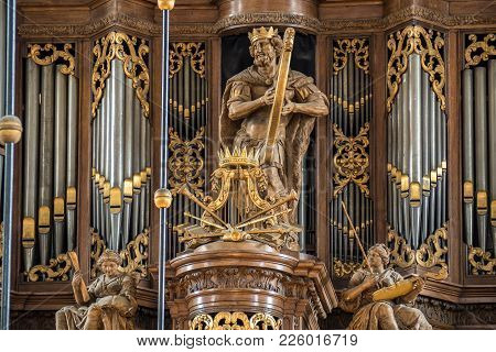 Zwolle, Netherlands - June 15, 2016: The Schnitger Organ In The Grote Of Sint-michaelskerk Is One Of