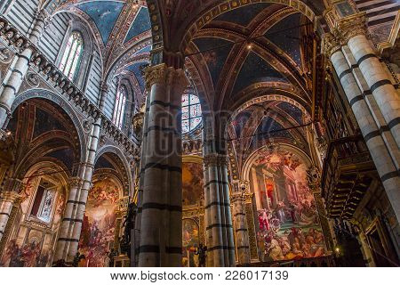 Interiors And Decors Of Siena Cathedral, Siena, Italy