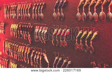 Poznan, Poland - February 10, 2018: Fishing Fairs ,,rybomania,, In Poland. Various Spinning Baits On
