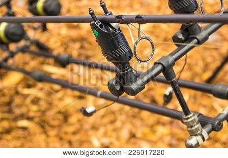Poznan, Poland - February 10, 2018: Fishing Fairs ,,rybomania,, In Poland. Carp Rod On The Stand..