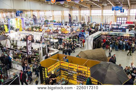 Poznan, Poland - February 10, 2018: Panoramic Top View Of The Exhibition Pavilion ,,rybomania,, In P