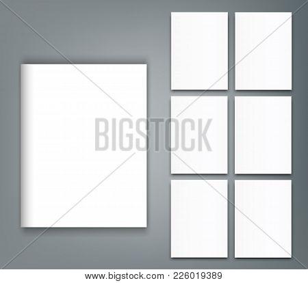 Set Of Blank Poster Bi Fold Brochure Mockup Cover Template.
