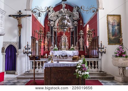 Kotor, Montenegro - May 26, 2017: Altar Of St Nicholas Church In Perast, Old Coastal Town In Kotor B