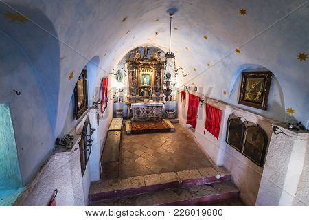Kotor, Montenegro - May 26, 2017: Our Lady Of Remedy Old Church In Oldest Part Of Kotor, Montenegro