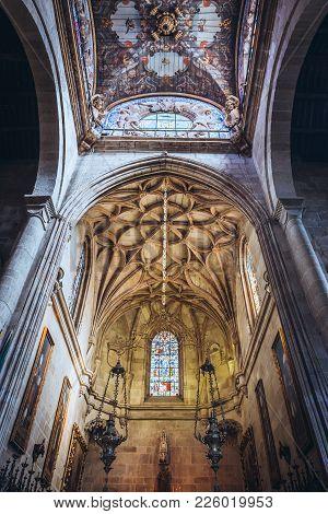 Braga, Portugal - November 15, 2017: Altar Of Cathedral In Braga City, Norte Region Of Portugal