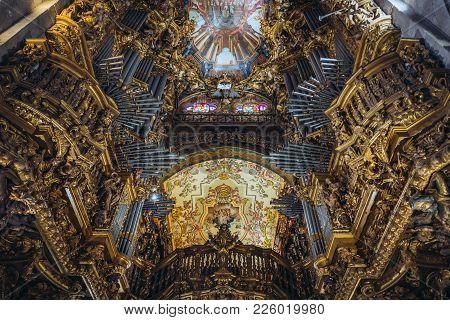 Braga, Portugal - November 15, 2017: Organ In Se Cathedral Of Braga City, Norte Region Of Portugal