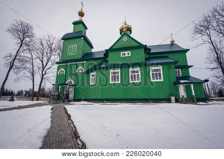Trzescianka, Poland - January 26, 2018: St Archangel Michael Wooden Orthodox Church In Trzescianka,