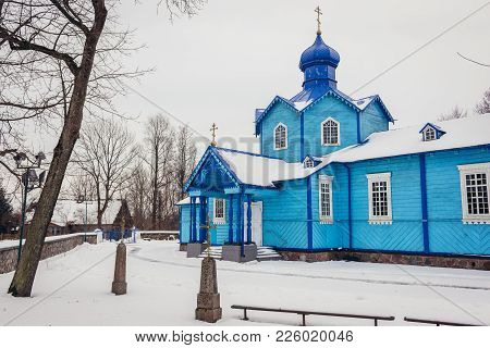 Narew, Poland - January 26, 2018: Exaltation Of Holy Cross Wooden Orthodox Church In Narew, Small Vi