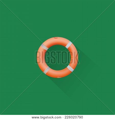 Simple Life Buoy Icon On Green Background, Vector, Illustration, Eps File