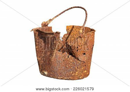 Damaged Rusty Tin From First World War, Isolated Over Whte Background