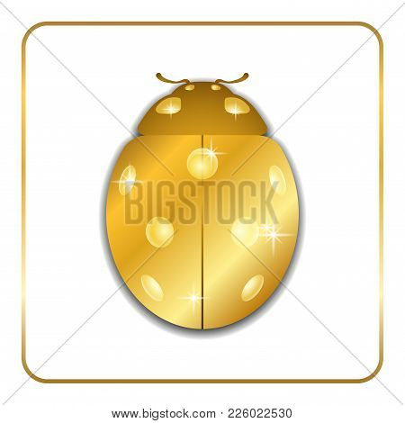 Ladybug Gold Insect Small Icon. Golden Metal Lady Bug Animal Sign, Isolated On White Background. 3d