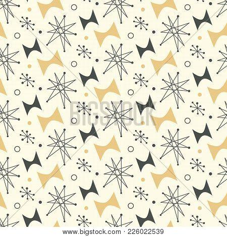 Mid Century Modern Seamless Pattern. 1950s Vintage Style Atomic Background, Retro Vector Illustratio