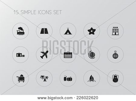 Set Of 15 Editable Trip Icons. Includes Symbols Such As Aviation, Cloche, World Travel And More. Can