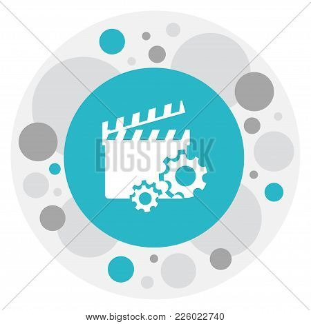 Vector Illustration Of Filming Symbol On Movie Action Icon. Premium Quality Isolated Clapperboard El