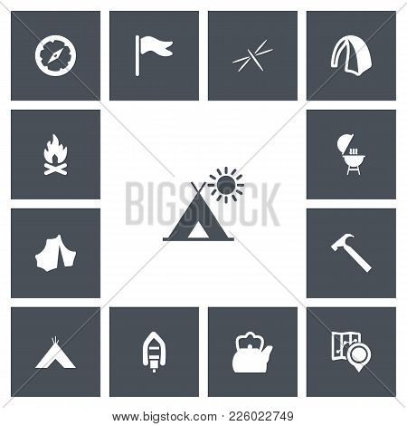 Set Of 13 Editable Trip Icons. Includes Symbols Such As Circus, Teapot, Camp And More. Can Be Used F