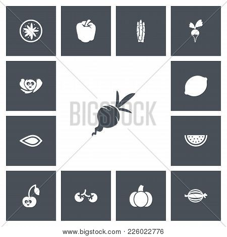 Set Of 13 Editable Cookware Icons. Includes Symbols Such As Pumpkin, Beet, Kiwi And More. Can Be Use