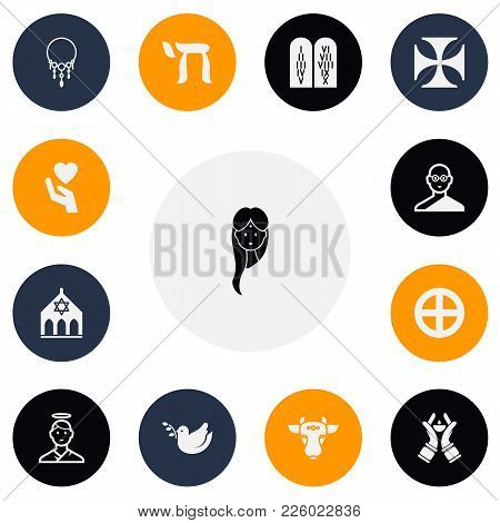 Set Of 13 Editable Religion Icons. Includes Symbols Such As Friar, Save Love, Temple And More. Can B