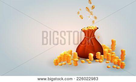 Falling Coins, Falling Money, Flying Gold Coins, Golden Rain. Jackpot Or Success Concept. Modern Bac