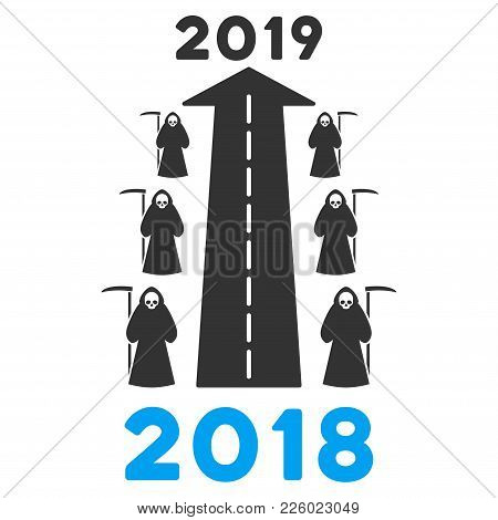 2019 Scytheman Future Road Flat Vector Icon. An Isolated Icon On A White Background.