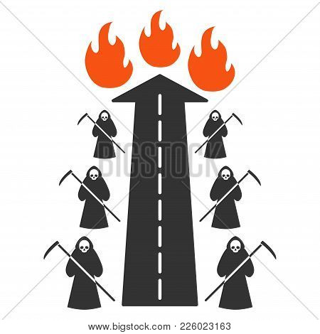 Road To Hell Fire Flat Vector Pictograph. An Isolated Icon On A White Background.