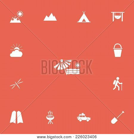 Set Of 13 Editable Travel Icons. Includes Symbols Such As Peak, Plage, Tent And More. Can Be Used Fo