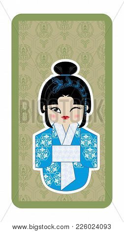 Japanese Doll, Kokeshi With Butterflies On Green Textured Background