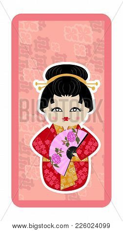 Japanese Doll, Kokeshi With A Fan, And Peonies On A Pink Textured Background