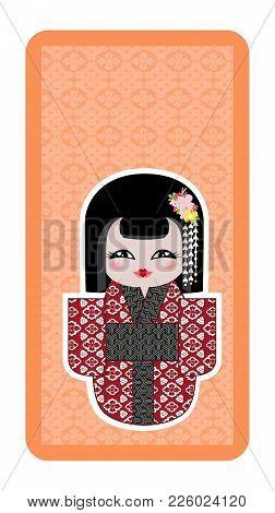 Japanese Doll, Kokeshi On Orange Textured Background