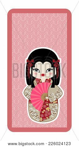 Japanese Doll, Kokeshi With A Fan On A Pink Textured Background