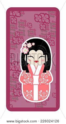 Japanese Doll, Kokeshi On Violet Textured Background