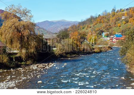 Autumn Carpathian Mountain White Tysa River Landscape With Multicolored Yellow-orange-red-brown Tree