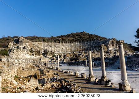March 2016: Ancient Roman Ruins Of The Theater In Ephesus, Turkey With No People During The Day