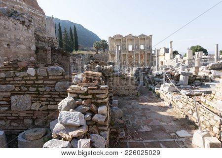 March 2016: Ancient, Biblical Roman Library In Ephesus, Turkey With No People