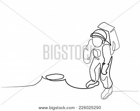 Continuous Line Drawing Different Wide. Spaceman On The Moon. Vector Illustration