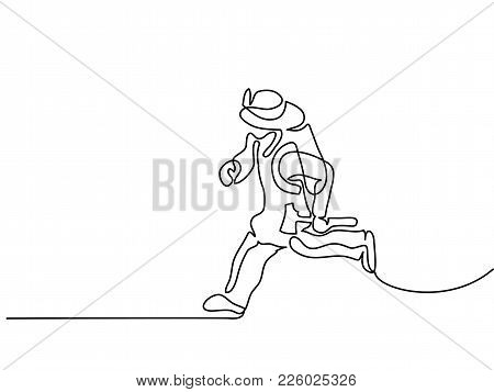 Continuous Line Drawing. Firefighter Running To Fire With Hatchet. Vector Illustration
