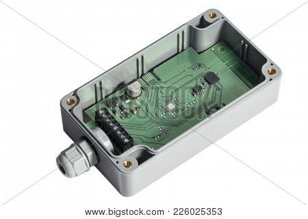 Electric Control Panel In Junction Box. Isolated On White. Wifi And Bluetooth Integrated.