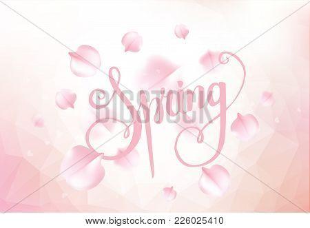 Pink Sakura Falling Petals Background. Vector Illustration
