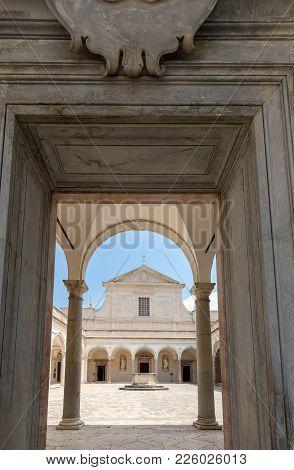 Montecassino, Italy - June 17, 2017: Cloister Of Benedictine Abbey Of Montecassino. Italy