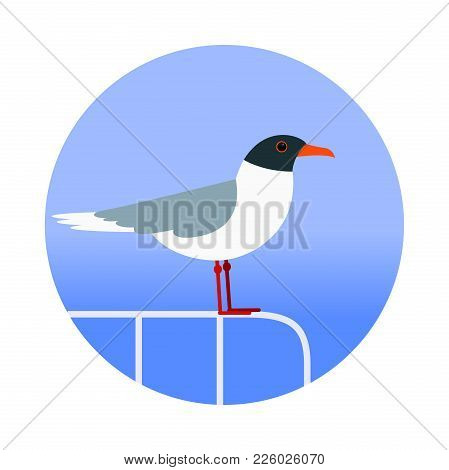Seagull On The Handrails On The Background Of The Sea. Flat. Vector