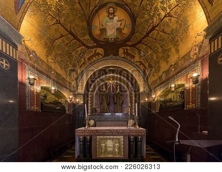 Montecassino, Italy - June 17, 2017: Crypt Inside The Basilica Cathedral At Monte Cassino Abbey. Ita