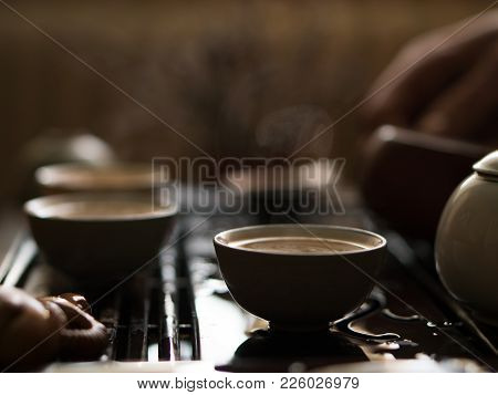 Exquisite Green Tea In Teapot At Traditional Chinese Tea Ceremony. Set Of Equipment For Drinking Tea