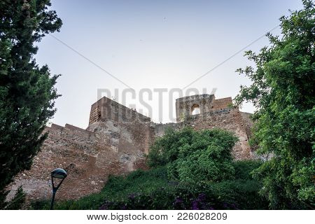 Gibralfaro Castle (alcazaba De Malaga), Malaga, Costa Del Sol, Spain, Europe On A Bright Summer Day