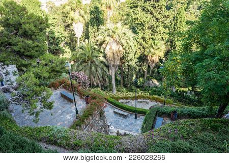 Gardens On The Hill Overlooking The City Of Malaga, Spain, Europe