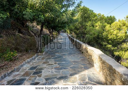Stone Pathway Leading Up The Hill Overlooking Malaga, Spain, Europe With Trees On Either Side